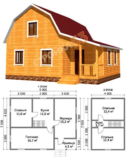 Проекты домов из бруса 7 на 9